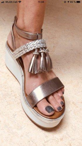 Inuovo Sandalo con tacco argento-color oro rosa Pelle