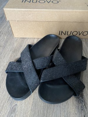 Inuovo Beach Sandals black leather