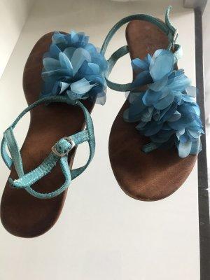 Inuovo Zehen Sandaletten blau/ türkis, Blumen, Freizeit Look
