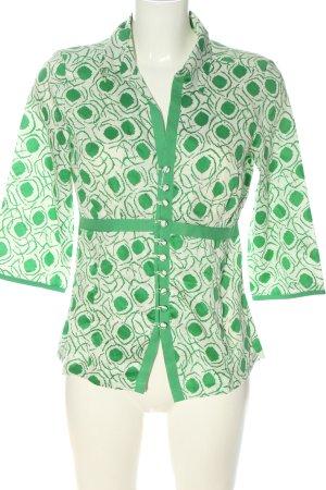 InWear Blouse-chemisier blanc-vert motif abstrait style décontracté