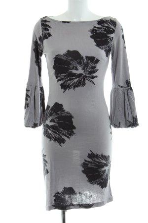 InWear Jerseykleid hellgrau-schwarz Blumenmuster Elegant