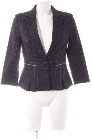 InWear Kurz-Blazer schwarz-türkis Streifenmuster Elegant
