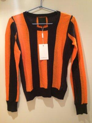 InWear Sweter z dzianiny pomarańczowy-ciemnoniebieski Len