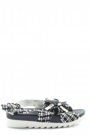 Ioannis Comfort Sandals black-white allover print casual look