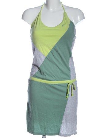 ION Vestido de cuello Halter gris claro-verde moteado look casual