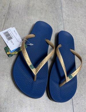 Ipanema High-Heeled Toe-Post Sandals gold-colored-dark blue