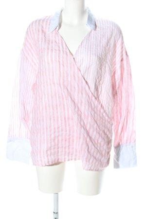 Ipekyol Schlupf-Bluse weiß-pink Streifenmuster Casual-Look