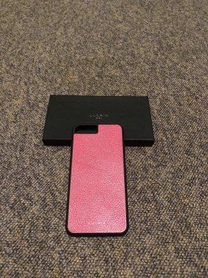 Hoesje voor mobiele telefoons roze-zwart Leer