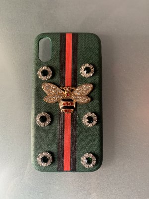 iPhone X Hülle Libelle neu streifen rot dunkelgrün strass