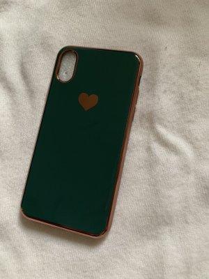 Étui pour téléphone portable doré-vert foncé