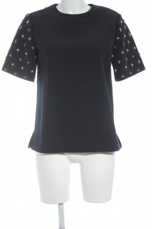 Iris & Ink Kurzarm-Bluse dunkelblau extravaganter Stil