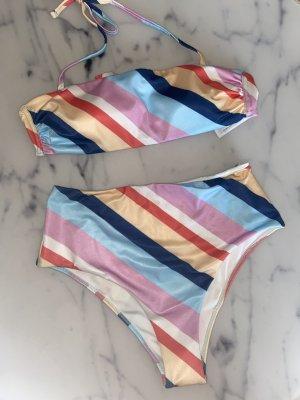 Iris & Lilly High Waist Bikini Gestreift Bunt Gr. S