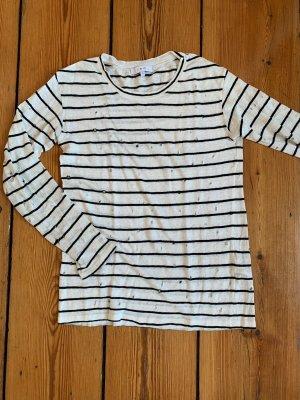 IRO Shirt gestreift Langarmshirt destroyed schwarz weiße Streifen S aus Leinen