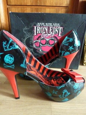 Iron Fist Pumps High Heels vegan blau roter Absatz Gr. 40 Anker Motiv Sailor Girl Rockabilly Absatzs Peeptoe Schuhe