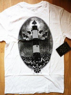 Iron Fist Shirt weiss Gr. S unisex Leuchtturm Totenkopf