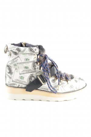 Ankle Boots weiß-schwarz Allover-Druck Casual-Look