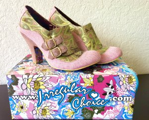Irregular choice Backless Pumps rose-gold-coloured-lime-green