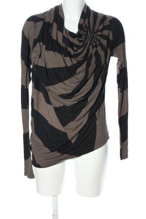 Isabel de Pedro Longsleeve braun-schwarz Streifenmuster Casual-Look