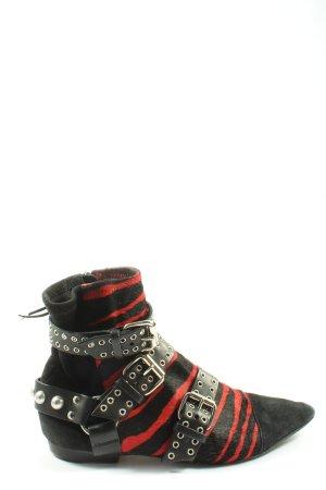 Isabel Marant Botas de tobillo negro-rojo estampado de animales look casual