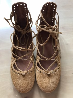 Isabel Marant Strappy Ballerinas cognac-coloured-gold-colored