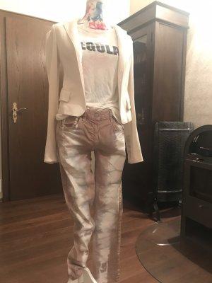 Isabel Marant Jeans carotte or rose-blanc