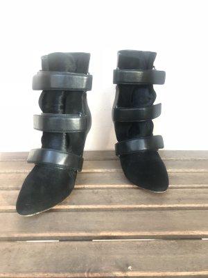 Isabel Marant Boots Gr.38 Scarlet Schwarz Stiefelette Boots Leder Schallen Spitz Heels