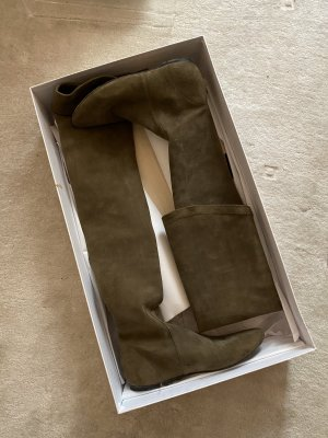 Isabel Marant Buty nad kolano szaro-brązowy-taupe