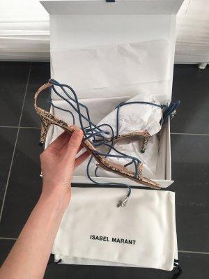 Isabel Marant Sandales à lanière rose chair-bleu acier