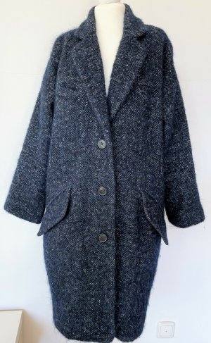 * ISABEL MARANT ETOILE * Oversize Wintermantel Wolle Alpaca blau grau Fischgrät Gr 36 34 S