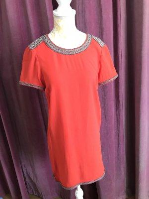 Isabel Marant Sukienka z krótkim rękawem srebrny-pomarańczowy neonowy