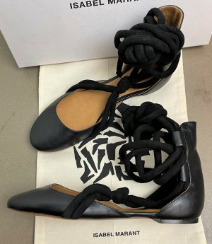 Isabel Marant Strappy Ballerinas black leather