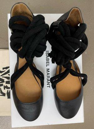 Isabel Marant Strappy Ballerinas black leather