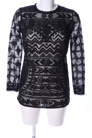 Isabel Marant pour H&M Transparenz-Bluse schwarz Allover-Druck Elegant