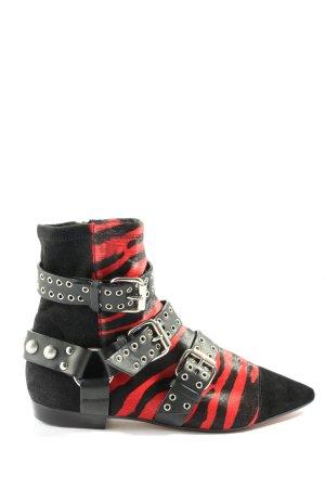 Isabel Marant Reißverschluss-Stiefeletten schwarz-rot extravaganter Stil
