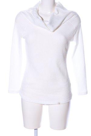isassy Prążkowana koszulka biały W stylu casual