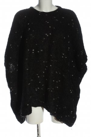 Ischiko Poncho black-natural white allover print casual look