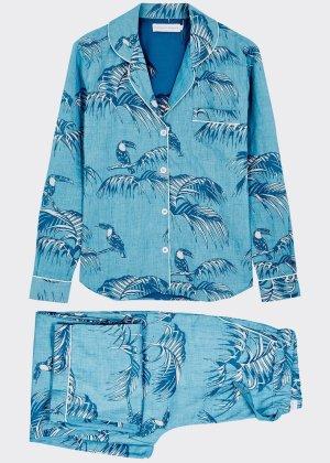 Desmond and Dempsey Pyjama bleu clair-bleuet coton