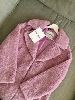 Stand Płaszcz ze sztucznym futrem bladofiołkowy Tkanina z mieszanych włókien