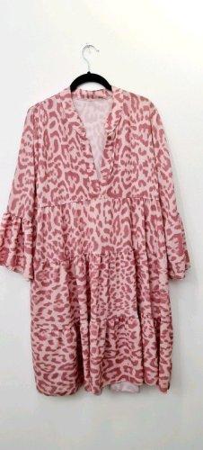 Moda Italiana Sukienka z rękawem balonowym różowy-biały Wiskoza