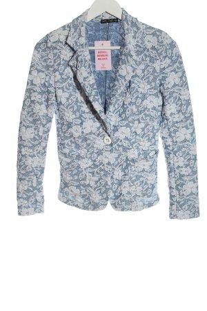 Italian Style Blazer en maille tricotée bleu motif de fleur style d'affaires