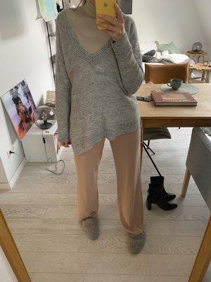 Italian yarn, asymmetrischer Wollpulli hellgrau meliert Zara