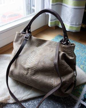 Italienische Designer Tasche Handtasche Leder Echtleder beige braun NEU + Staubbeutel