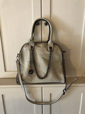 Italienische Echtleder Handtasche Weiß/Grau