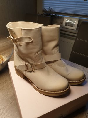 Italienische Leder Boots Creme