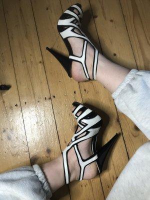 Italienische Leder Pumps high heels Sandaletten 37 Schwarz Weiß