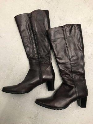 Italienische Leder Stiefel dunkelbraun Lavorazione Artigiana, 38