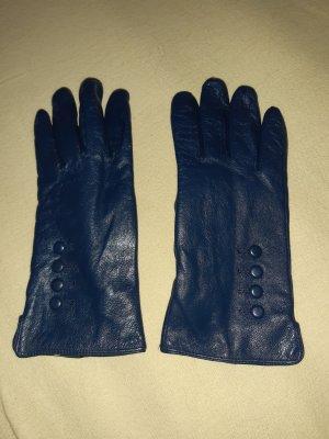Gevoerde handschoenen donkerblauw Leer