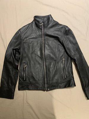 0039 Italy Veste en cuir noir