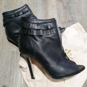 Vera Pelle Peep Toe Booties black