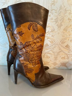 Botas de tacón alto coñac-marrón oscuro